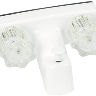 """4"""" White Plastic RV Tub Faucet with Diverter"""