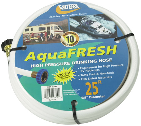 "RV 5/8"" x 25' White Drinking Water Hose"