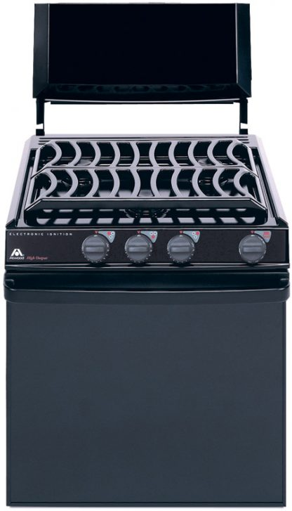"""Black Top 17"""" Atwood Range with Black Glass Door and Electronic Ignition"""