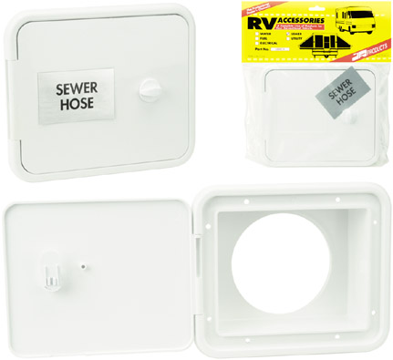 Polar White RV Sewer Hose / Storage Hatch with Thumb Lock