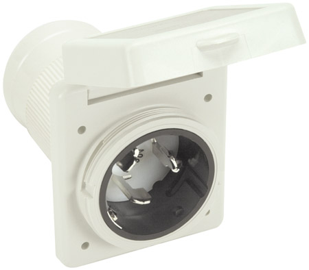 White 50Amp 4 Wire RV/Marine Power Inlet