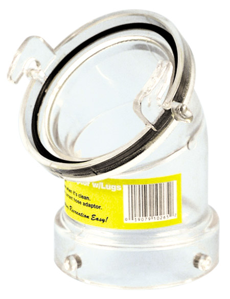 45° Clear Hose Adapter with Bayonet Lugs